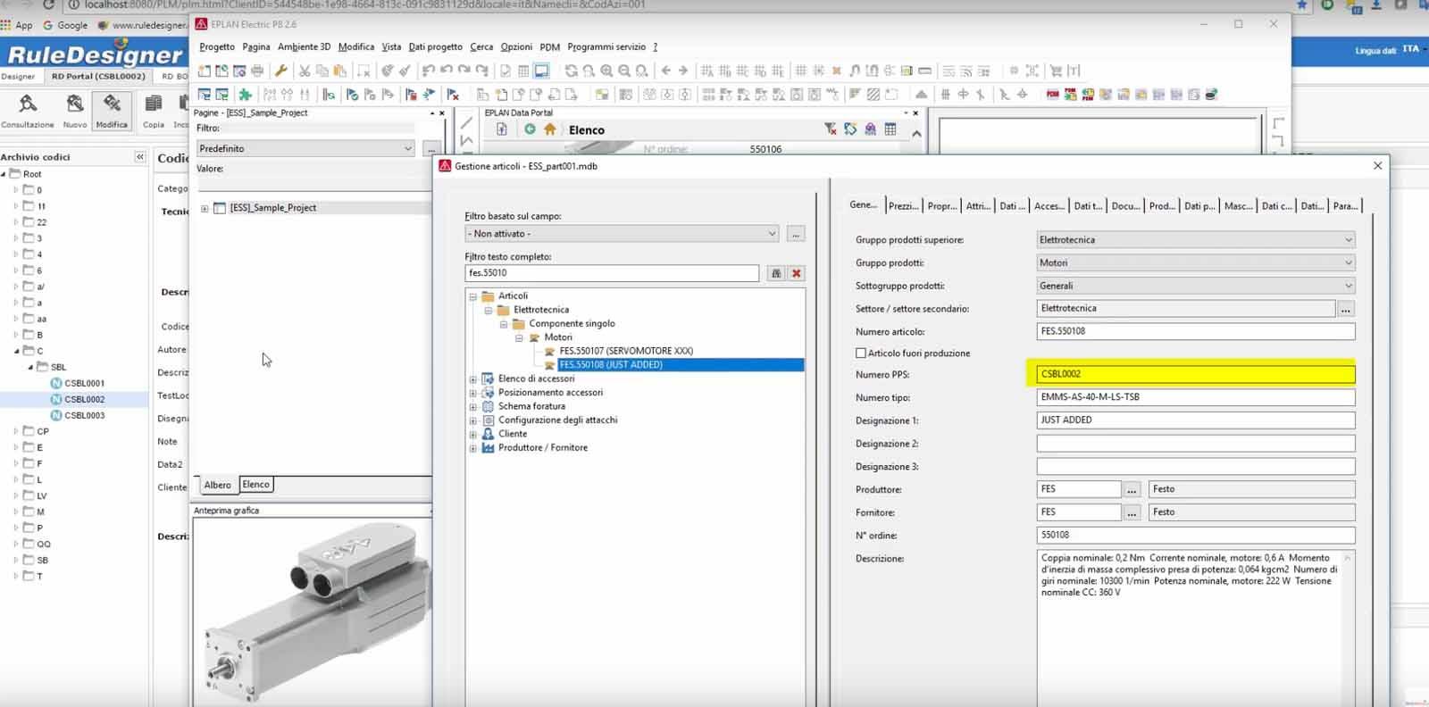 RuleDesigner PDM integrato con EPLAN