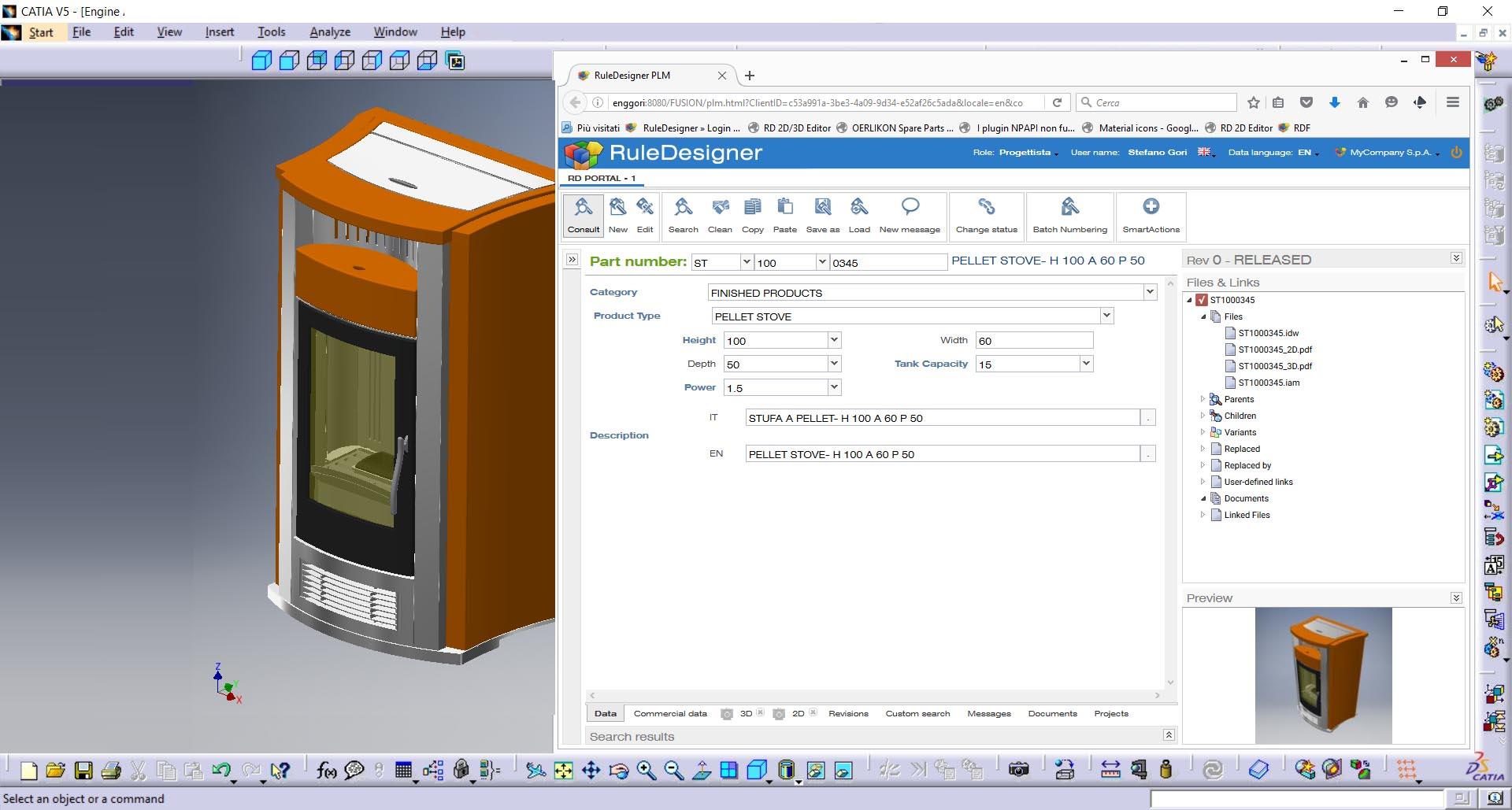 RuleDesigner PDM integrato con CATIA