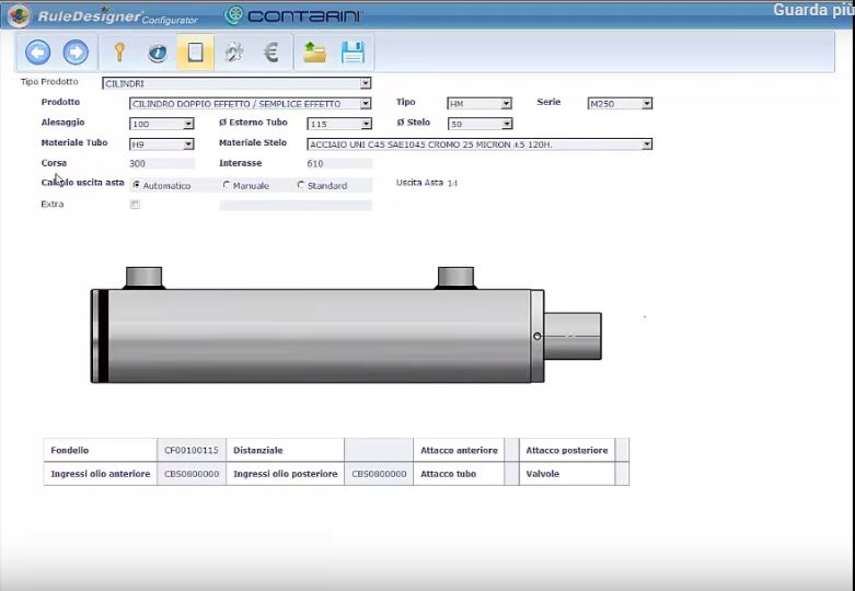 RuleDesigner Configurator | Cylinders and oleodinamic systems configuration